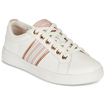 Shoes Girl Low top trainers Geox DJROCK GIRL White / Pink