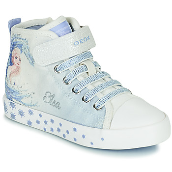 Shoes Girl Hi top trainers Geox JR CIAK GIRL White / Blue