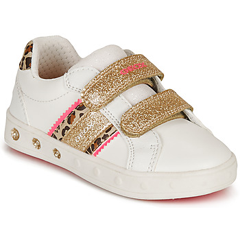 Shoes Girl Low top trainers Geox SKYLIN GIRL White / Gold / Leopard