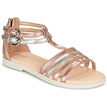 Shoes Girl Sandals Geox SANDAL KARLY GIRL Pink / Silver