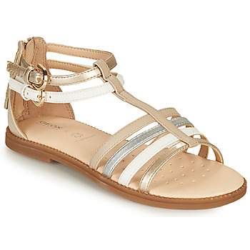 Shoes Girl Sandals Geox SANDAL KARLY GIRL Beige / Silver / White