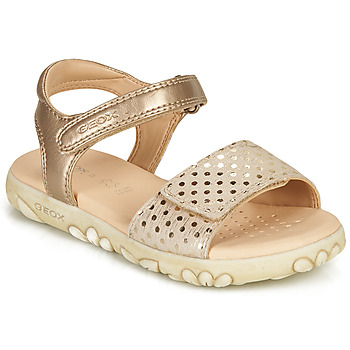 Shoes Girl Sandals Geox SANDAL HAITI GIRL Beige / Gold
