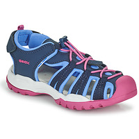 Shoes Girl Outdoor sandals Geox BOREALIS GIRL Blue / Pink