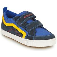 Shoes Boy Low top trainers Geox ALONISSO BOY Marine / Yellow
