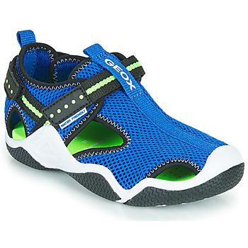 Shoes Boy Outdoor sandals Geox JR WADER Blue / Green