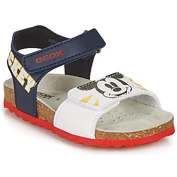 Shoes Boy Sandals Geox SANDAL CHALKI BOY Marine / White