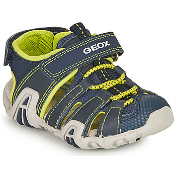 Shoes Boy Outdoor sandals Geox SANDAL KRAZE Marine / Lime