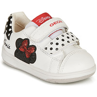 Shoes Girl Low top trainers Geox NEW FLICK GIRL White / Black / Red
