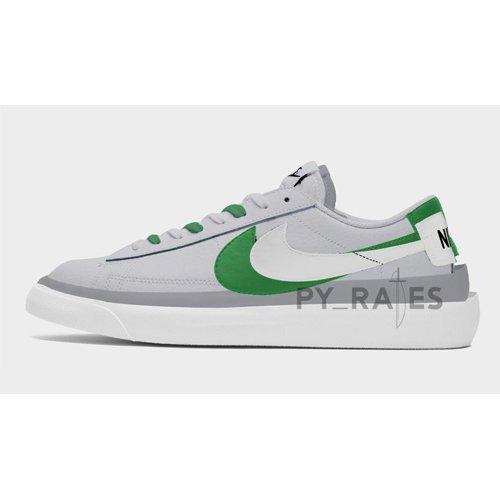 Shoes Hi top trainers Nike Sacai x Nike Blazer Low Medium Grey/Classic Green-White