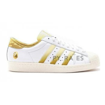 Shoes Hi top trainers adidas Originals Bape x adidas Superstar Off-White/Footwear White-Gold Metallic