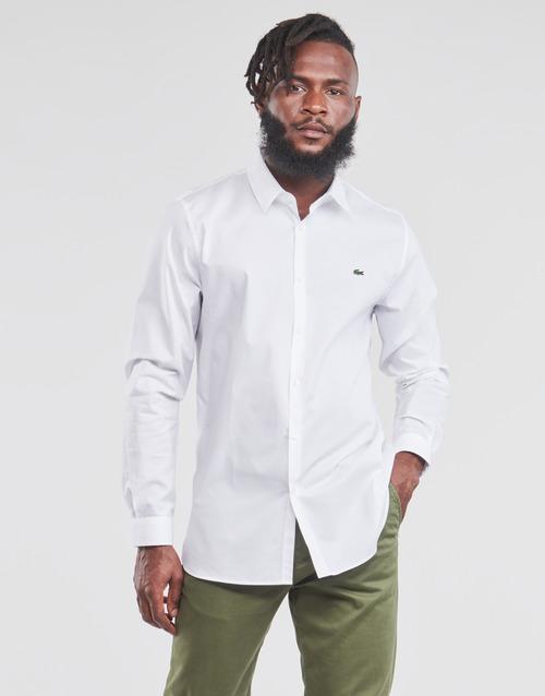 Clothing Men Long-sleeved shirts Lacoste PITTA White