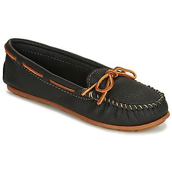 Shoes Women Loafers Minnetonka BOAT MOC Black