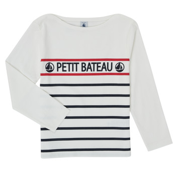 Clothing Boy Long sleeved tee-shirts Petit Bateau MAMBO White