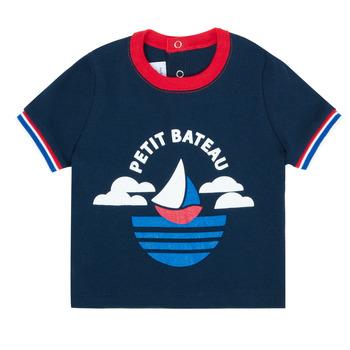 Clothing Boy Short-sleeved t-shirts Petit Bateau MENU Marine