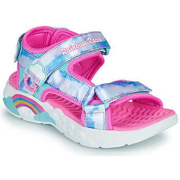 Shoes Girl Outdoor sandals Skechers RAINBOW RACER Silver / Pink