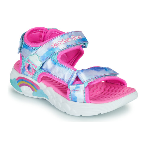 Shoes Girl Outdoor sandals Skechers RAINBOW RACER Silver / Pink