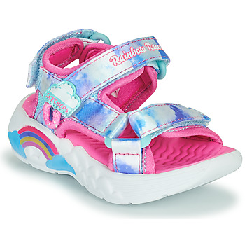 Shoes Girl Outdoor sandals Skechers RAINBOW RACER Pink / Silver