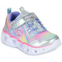 Shoes Girl Low top trainers Skechers HEART LIGHTS RAINBOW LUX Silver / Pink