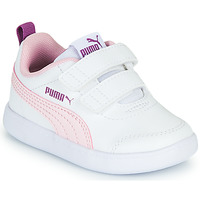 Shoes Girl Low top trainers Puma COURTFLEX INF White / Pink