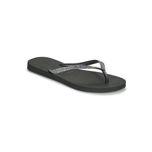 Shoes Women Flip flops Havaianas SLIM GLITTER II Black / Grey