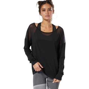 Clothing Women Long sleeved tee-shirts Reebok Sport Dance Mesh Black