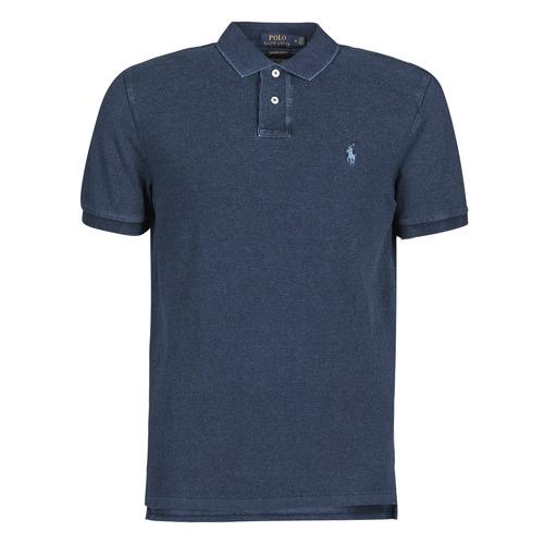 Clothing Men Short-sleeved polo shirts Polo Ralph Lauren POLO AJUSTE DROIT EN COTON BASIC Blue