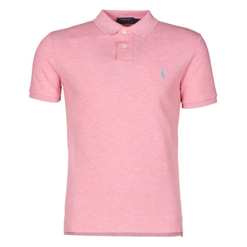 Clothing Men Short-sleeved polo shirts Polo Ralph Lauren POLO CINTRE SLIM FIT EN COTON BASIC MESH LOGO PONY PLAYER Pink