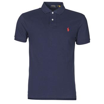 Clothing Men Short-sleeved polo shirts Polo Ralph Lauren POLO CINTRE SLIM FIT EN COTON BASIC MESH LOGO PONY PLAYER Marine