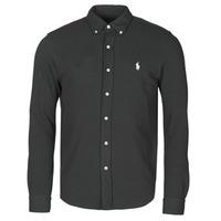 Clothing Men Long-sleeved shirts Polo Ralph Lauren CHEMISE AJUSTEE COL BOUTONNE EN POLO FEATHERWEIGHT LOGO PONY PLA Black