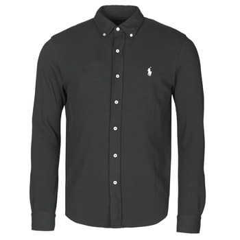 Clothing Men Long-sleeved shirts Polo Ralph Lauren CHEMISE AJUSTEE COL BOUTONNE EN POLO FEATHERWEIGHT LOGO PONY PLA Black