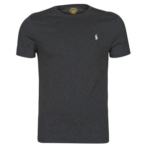 Clothing Men Short-sleeved t-shirts Polo Ralph Lauren T-SHIRT AJUSTE COL ROND EN COTON LOGO PONY PLAYER Black