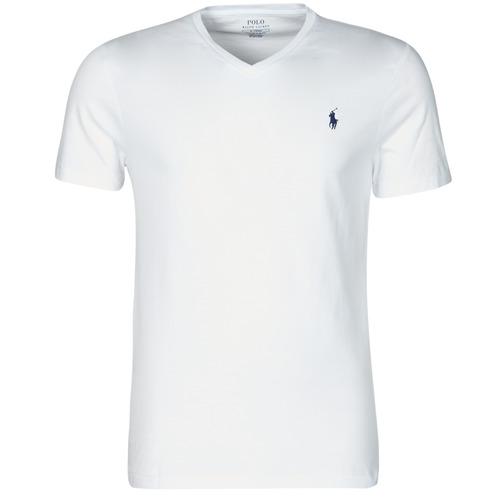 Clothing Men Short-sleeved t-shirts Polo Ralph Lauren T-SHIRT AJUSTE COL V EN COTON LOGO PONY PLAYER White