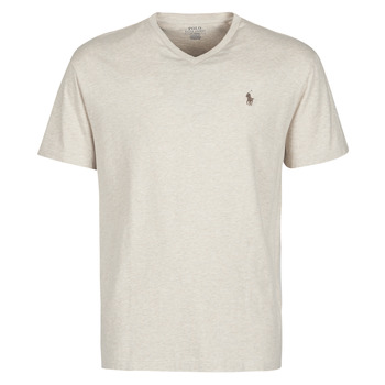 Clothing Men Short-sleeved t-shirts Polo Ralph Lauren T-SHIRT AJUSTE COL V EN COTON LOGO PONY PLAYER Beige