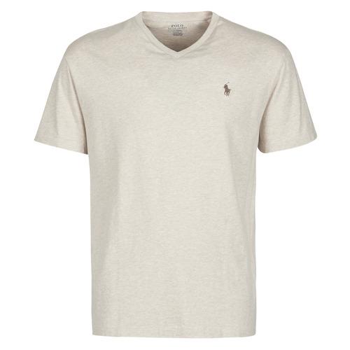 Clothing Men Short-sleeved t-shirts Polo Ralph Lauren T-SHIRT AJUSTE COL V EN COTON LOGO PONY PLAYER Beige