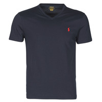 Clothing Men Short-sleeved t-shirts Polo Ralph Lauren T-SHIRT AJUSTE COL V EN COTON LOGO PONY PLAYER Blue