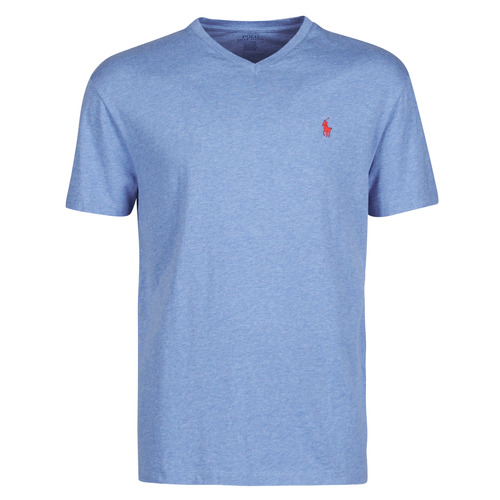 Clothing Men Short-sleeved t-shirts Polo Ralph Lauren T-SHIRT AJUSTE COL V EN COTON LOGO PONY PLAYER Blue