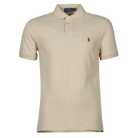 Clothing Men Short-sleeved polo shirts Polo Ralph Lauren POLO AJUSTE DROIT EN COTON BASIC MESH LOGO PONY PLAYER Beige