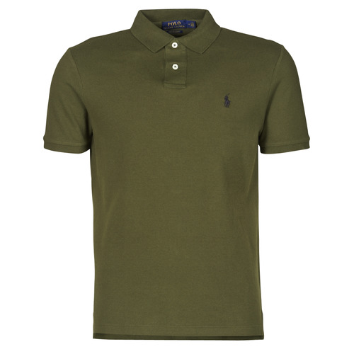 Clothing Men Short-sleeved polo shirts Polo Ralph Lauren POLO AJUSTE DROIT EN COTON BASIC MESH LOGO PONY PLAYER Kaki