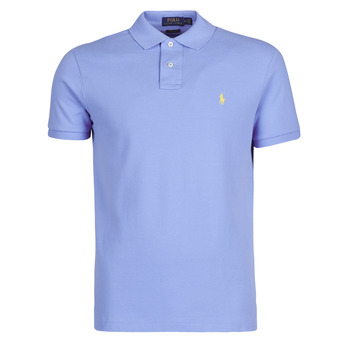 Clothing Men Short-sleeved polo shirts Polo Ralph Lauren POLO AJUSTE DROIT EN COTON BASIC MESH LOGO PONY PLAYER Blue / Cabana