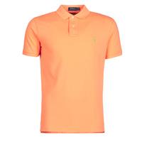 Clothing Men Short-sleeved polo shirts Polo Ralph Lauren POLO AJUSTE DROIT EN COTON BASIC MESH LOGO PONY PLAYER Orange