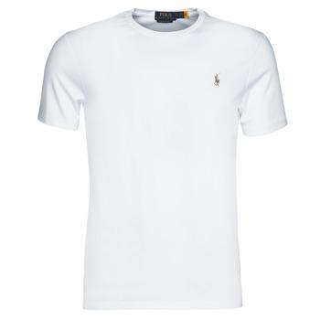 Clothing Men Short-sleeved t-shirts Polo Ralph Lauren T-SHIRT AJUSTE COL ROND EN PIMA COTON LOGO PONY PLAYER MULTICOLO White