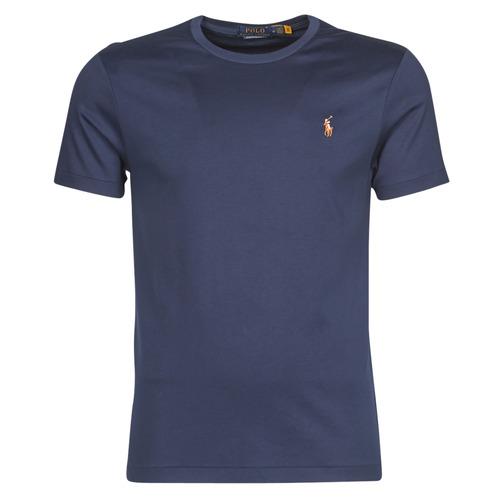 Clothing Men Short-sleeved t-shirts Polo Ralph Lauren T-SHIRT AJUSTE COL ROND EN PIMA COTON LOGO PONY PLAYER MULTICOLO Blue