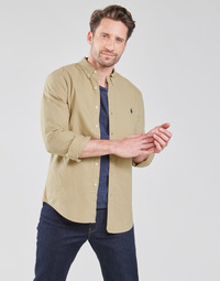 Clothing Men Long-sleeved shirts Polo Ralph Lauren CHEMISE CINTREE SLIM FIT EN OXFORD LEGER TYPE CHINO COL BOUTONNE Beige