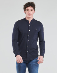 Clothing Men Long-sleeved shirts Polo Ralph Lauren CHEMISE AJUSTEE COL MAO EN POLO FEATHERWEIGHT LOGO PONY PLAYER Marine