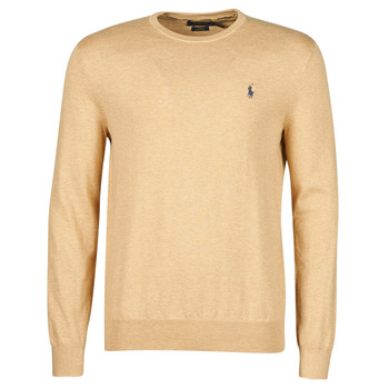 Clothing Men Jumpers Polo Ralph Lauren PULL COL ROND AJUSTE EN COTON PIMA LOGO PONY PLAYER Camel
