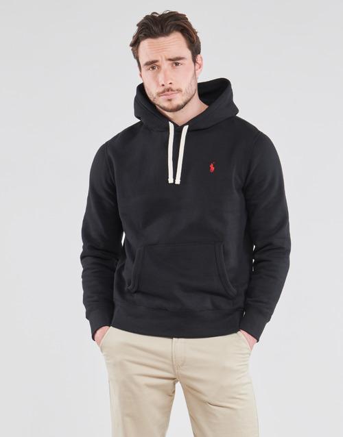 Clothing Men Sweaters Polo Ralph Lauren SWEAT A CAPUCHE MOLTONE EN COTON LOGO PONY PLAYER Black