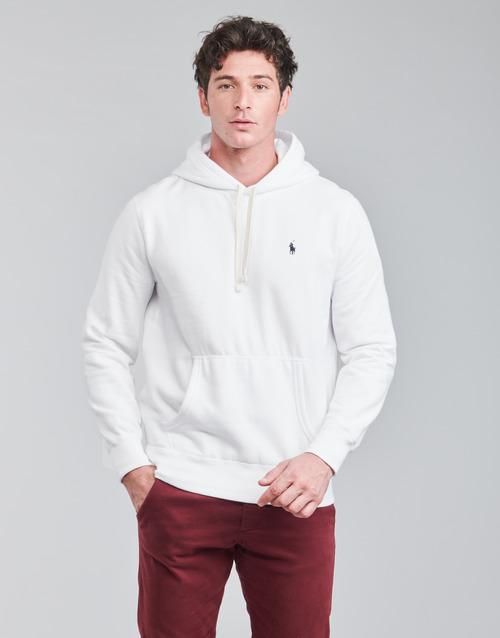 Clothing Men Sweaters Polo Ralph Lauren SWEAT A CAPUCHE MOLTONE EN COTON LOGO PONY PLAYER White