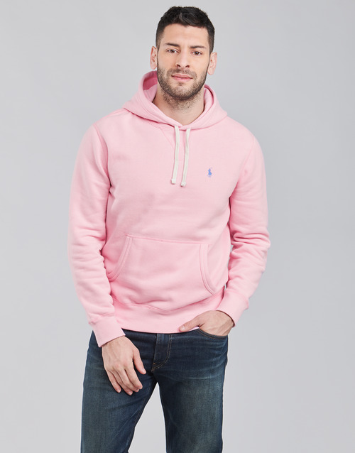 Clothing Men Sweaters Polo Ralph Lauren SWEAT A CAPUCHE MOLTONE EN COTON LOGO PONY PLAYER Pink