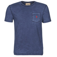 Clothing Men Short-sleeved t-shirts Polo Ralph Lauren T-SHIRT AJUSTE COL ROND EN COTON LOGO PONY PLAYER Blue