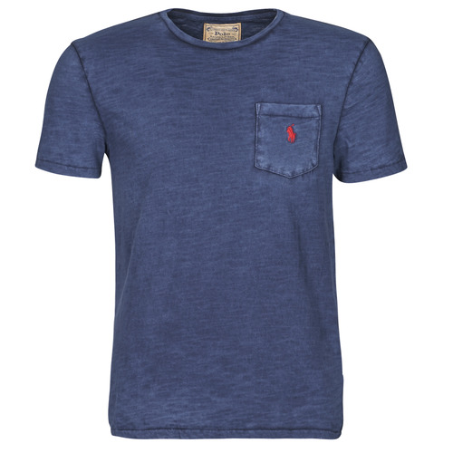 Clothing Men Short-sleeved t-shirts Polo Ralph Lauren T-SHIRT AJUSTE COL ROND EN COTON LOGO PONY PLAYER Blue